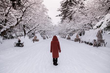 Tourist at snow covered road to Hirosaki Castle in winter season, Aomori, Tohoku, Japan