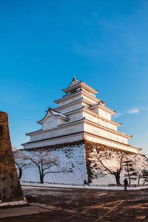 Evening Winter sky at Japanese Castle tower of Aizu Wakamatsu Castle in Fukushima, Tohoku, Japan