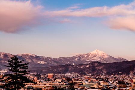 Sunset view of Aizu Wakamatsu city from aerial angle with beautiful evening light
