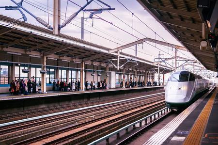 JAN 25, 2014 Aizu Wakamatsu, Japan : Shinkansen E3 Series High speed train at Aizu Wakamatsu station. Services as