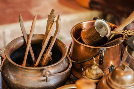 beautiful Copper, Brass old vintage tea pots and jars