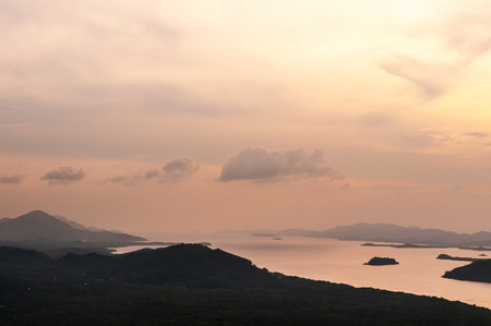Aerial nature view of  Kra Isthmus. The Kra Isthmus is the Malayan Peninsula narrowest point