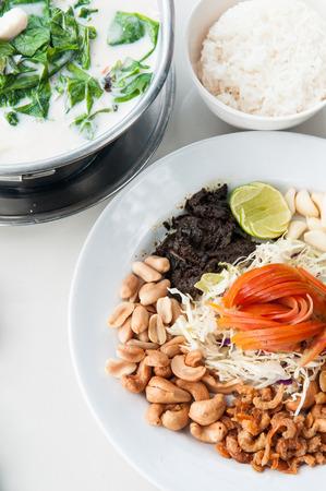 Myanmar fermented tea leaves salad or Lahpet, famous cuisine of Myanmar