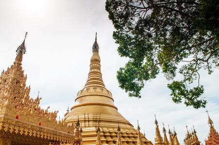 Simmulate of Golden Shwedagon Pagoda at Suwankiri Temple, Ranong, Thailand