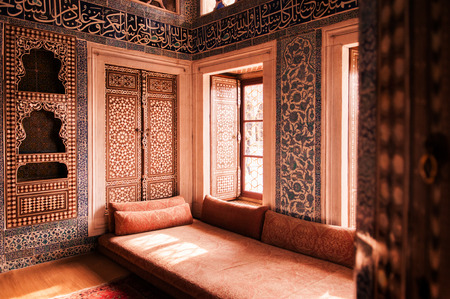 JAN 4, 2018, ISTANBUL, TURKEY : Beautiful and luxury Mosaic Interior of Topkapi Palace. Former residence of the Sultans for 400 years Editorial