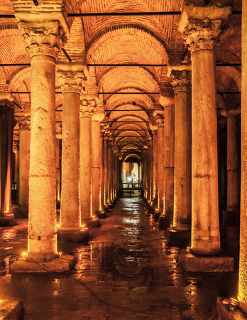 JAN 4, 2018, ISTANBUL, TURKEY : The Basilica Cistern - underground water reservoir build by Emperor Justinianus in 6th century