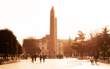JAN 4, 2018, ISTANBUL, TURKEY : The Obelisk of Theodosius is the Ancient Egyptian obelisk of Pharaoh Thutmose III at Hippodrome of Constantinople Editorial