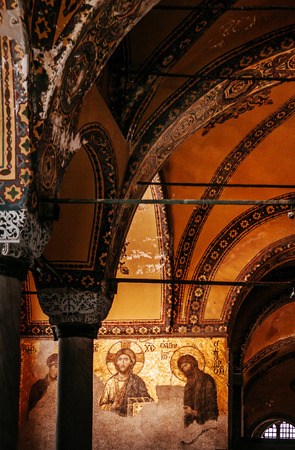 DEC 31, 2017 Istanbul, TURKEY : Jesus Christ Pantocrator, Detail from deesis Byzantine mosaic in Hagia Sophia,Greek Orthodox Christian patriarchal basilica, church