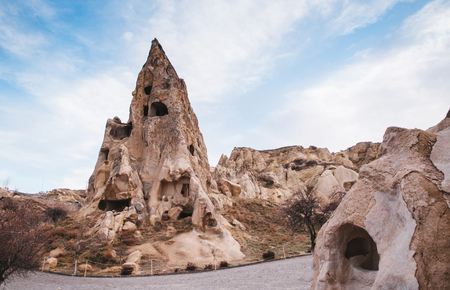 Exotic ancient Nunnery inside volcanic rock landscape at Goreme Open air museum, Cappadocia, Turkey 版權商用圖片