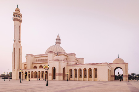 Most iconic Al Fateh grand mosque in evening.  Manama, Bahrain Zdjęcie Seryjne