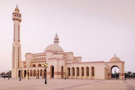 Most iconic Al Fateh grand mosque in evening.  Manama, Bahrain Stock Photo
