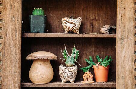 Decoración vintage varias macetas de cactus viejos en estante de madera y adornos Foto de archivo - 95626494