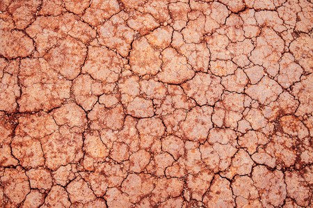 Beautiful red of dry cracked soil texture background, dry Laterite soil texture