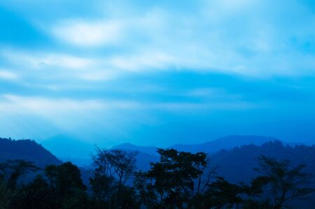 Beautiful Blue hour morning sunrise sky forest and mountain in Mon Cham, Chiang Mai, Thailand 写真素材