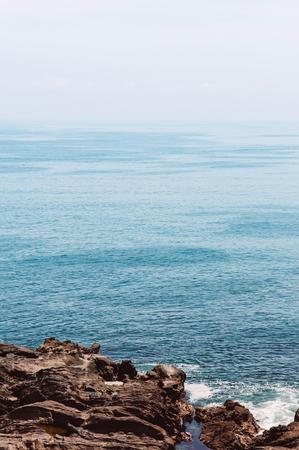 Beautiful Rock cape at Jogashima island, Miura, Japan. Blue sea ocean view with copy space