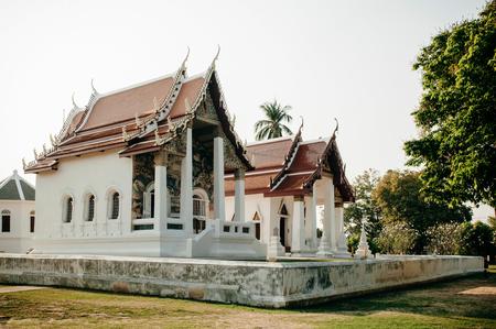 MAR 1, 2018 Uthaithani - Thailand : Wat Uposatharam Temple or Wat Bot at noon under clear blue sky, Historical landmark of Uthaithani province