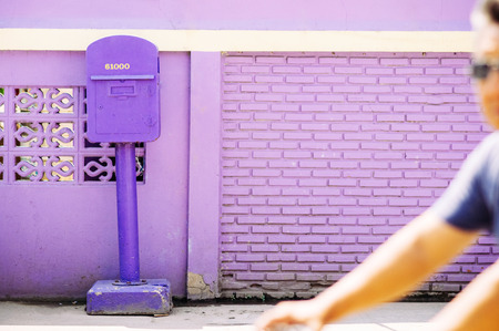 MAR 2, 2018 Uthaithani - Thailand : Unique purple colour post box of Uthaithani province, only place in Thailand that use purple colour post box Redakční