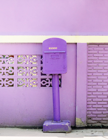 Unique purple colour post box of Uthaithani province, only place in Thailand that use purple colour post box