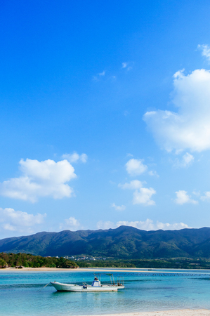 Very beautiful tropical sea with white sand beach crystal clear turquoise water at Kabira Bay, Ishigaki island, Okinawa, Japan.
