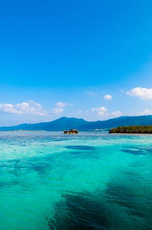 Very beautiful tropical sea crystal clear turquoise water and coral reef at Kabira Bay, Ishigaki island, Okinawa, Japan. 写真素材