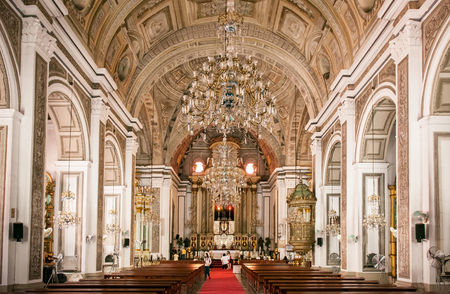 NOV 20,2012 , Manila, Philippines : Old historic beautiful ceiling fresco art of San Agustin Church 報道画像