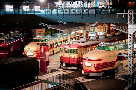DEC 10, 2012 Saitama, JAPAN - Old train models exhibits in railway museum of Omiya. shot from high angle view