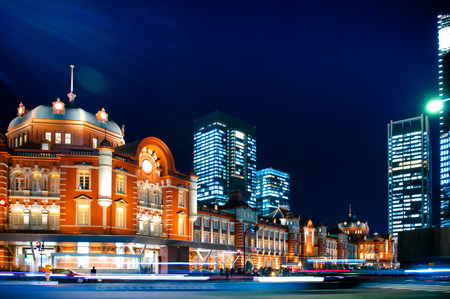 Tokyo station, night shot of historic railway station in  Marunouchi business district of Chiyoda, Tokyo, Japan Stock Photo