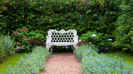 Vintage English country garden with flowers, white iron bench 写真素材