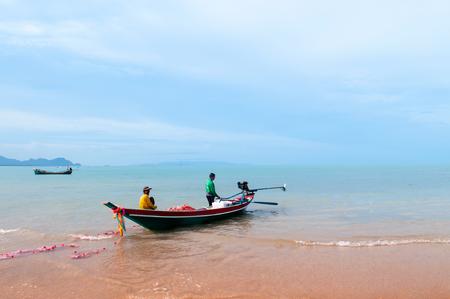 JUN 16, 2018 Nakhon Si Thammarat, THAILAND - Beautiful peaceful beach of southern Thailand during rainy season in Khanom