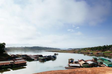 landscape of floating village raft houses in Sangkhlaburi, Kanchanaburi, Thailand