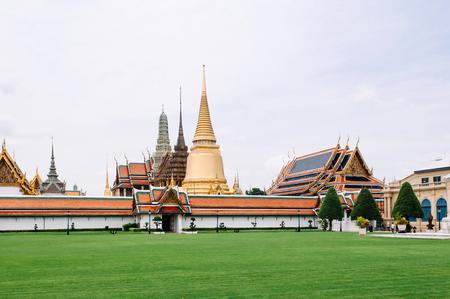 Beautiful elegant Famous scene of Wat Phra Kaew - Emerald Buddha Temple in Bangkok Grand Palace