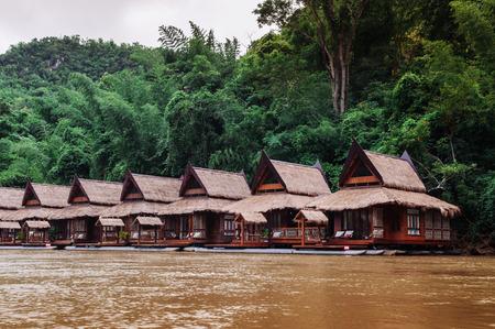 Wooden floating raft house in river Kwai at Sai Yok, Kanchanaburi, Thailand Editorial