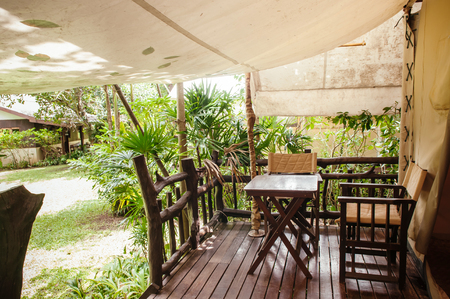 JUL 13,2013 Kanchanaburi, Thailand - Luxurious camping resort in nature forest, glamping vacation in tropical asian country Sajtókép