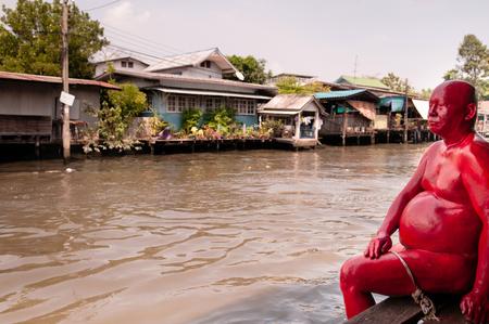 APR 20, 2013 Bangkok, Thailand - Thai wooden houses along Bangkok Yai canal or Klong Bang Luang