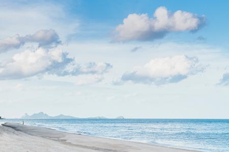 Wide scenery of Thap Sakae beach view on cloudy day, Prachuap Khiri Khan, Thailand Фото со стока