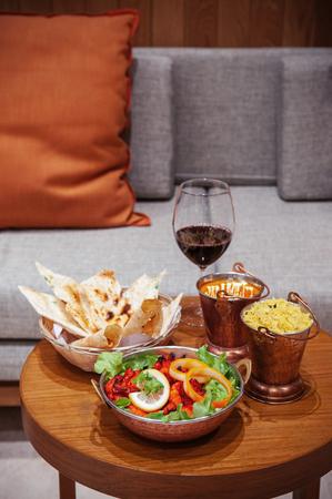 Delicious Indian cuisine, Chicken tandoori with tikka masala sauce, Papadum and Indian herbal rice Stock Photo