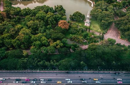 AUG 26, 2103 Bangkok, THAILAND - Bangkok city metropolis modern high rise buildings, Aerial top view at Lumpini park. 写真素材