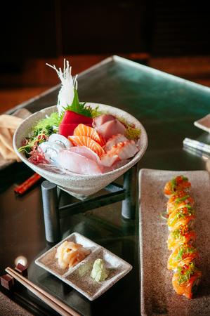 Japanese fresh Sushi Sashimi set with various fish and seafood, beautiful dish decoration 写真素材