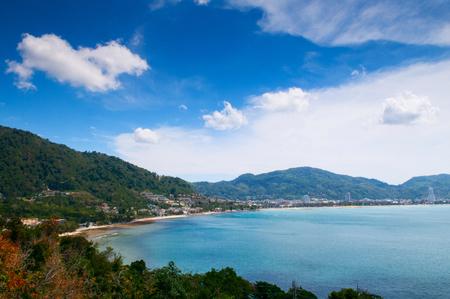 Lush green mountain and bay of Kalim beach and Patong beach high angle view, Phuket, Thailand