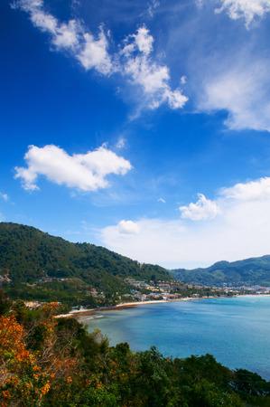 Mountain and bay of Kalim beach and Patong beach high angle view, Phuket, Thailand