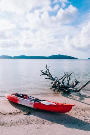 Kayaking exploring sea  of Koh Mud Sum near Koh Samui, Surat Thani, Thailand. Adventure eco travel concept Stock Photo