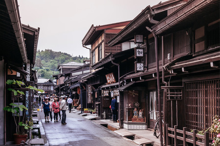 MAY 27, 2013 Takayama ,Gifu, Japan - Old vinatge local shop nice wooden exterior of Sanmachi Suji old Edo district, famous shopping and tourist attraction of Takayama old town. 報道画像