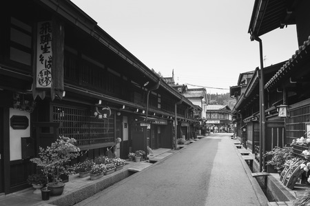 MAY 27, 2013 Takayama ,Gifu, Japan - Old vintage local shop nice wooden exterior of Sanmachi Suji old Edo district, famous shopping and tourist attraction of Takayama old town. 報道画像
