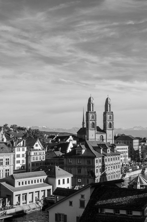Switzerland - Beautiful old vintage buildings of Grossmunster cathedral and medieval buildings in Zurich Old town Altstadt area