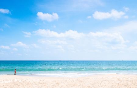 Summer at Bakantiang beach in Koh Lanta - Krabi, Thailand. European tourist on white sand beach with clear blue sky