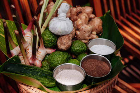 Thai herbs spa treatment ingredients and scrub with galangal, ginger, bergamot, grinded coffee, spa salt and cucumber 免版税图像