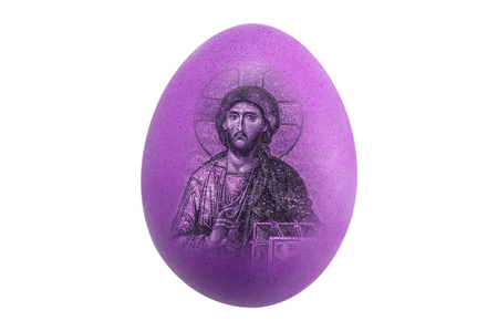 Isolated beautiful perfect shape organic blue Chicken Egg with easter Jesus image on white background - fine edge for easily di cut