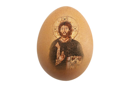 Isolated beautiful perfect shape organic Brown Chicken Egg Jesus image on white background - fine edge for easily di cut
