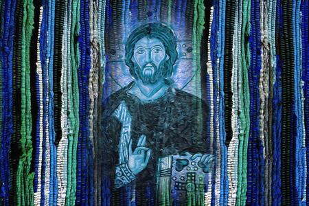 Jesus Christ image on bright vivid colourful blue green fabric texture background - Modren Jesus Christ religion artistic image