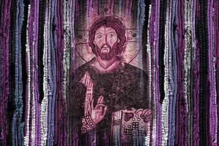 Image de Jésus-Christ sur fond de texture de tissu coloré vif et lumineux - image artistique de la religion de Jésus-Christ Modren Banque d'images